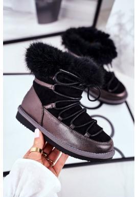 Černé dívčí oteplené sněhule Big Star s kožešinou