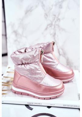 Dívčí vlněné sněhule v růžové barvě