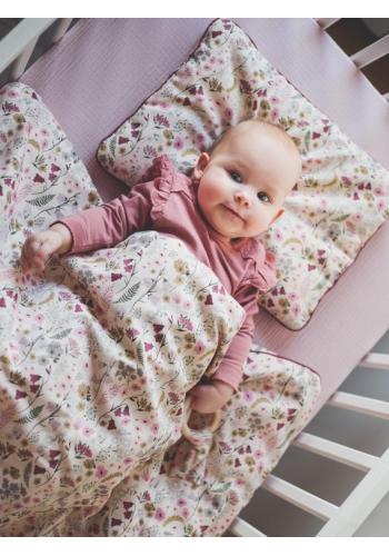 Saténová dětská sada do postýlky - retro květy
