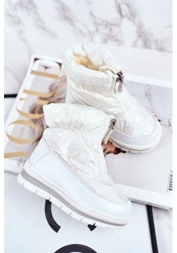 Otelené dívčí sněhule v bílé barvě