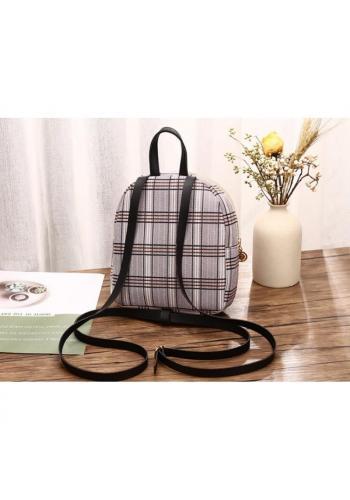 Černý mini batoh s károvaným vzorem pro dámy