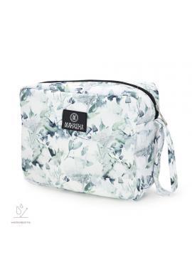 Bílý voděodolný kosmetický kufřík s motivem zelené šalvěje