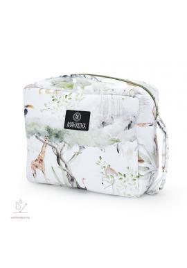 Bílý voděodolný kosmetický kufřík s motivem Savany