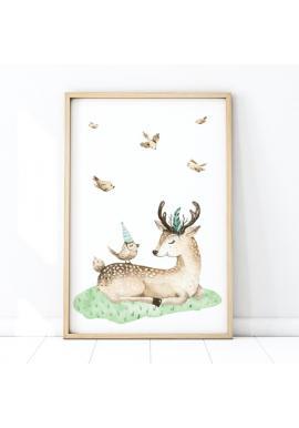 Bílý plakát na stěnu s motivem jelena a ptáků