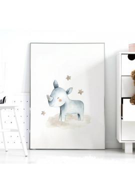 Plakát do dětského pokoje s motivem nosorožce