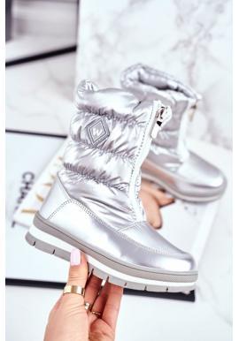 Metalické šedé oteplené sněhule pro dívky