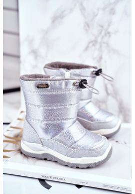 Stříbrné oteplené sněhule pro dívky