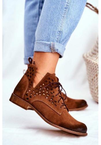 Hnědé azurového kotníkové boty pro dámy