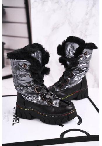 Dívčí metalické oteplené sněhule černo-šedé barvy
