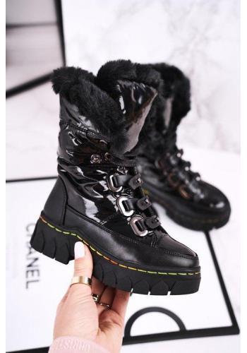 Černé oteplené sněhule pro dívky