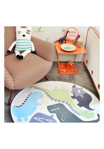 Kulatý dětský koberec / podložka na hraní s motivem dinosaurů