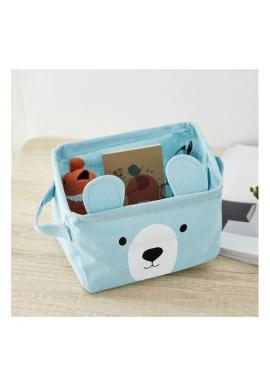 Malý dětský koš na hračky s motivem medvěda v modré barvě