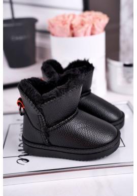 Teplé dětské sněhule v černé barvě