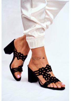Elegantní dámské sandály na hrubém podpatku černé barvy v akci