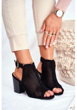 Azurový dámské boty na hrubém podpatku v černé barvě