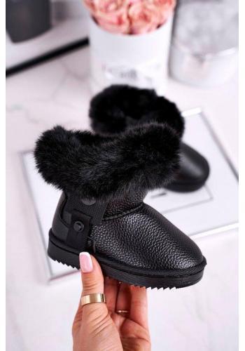 Černé dívčí teplé sněhule s kožešinou
