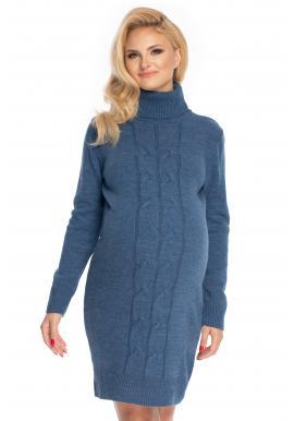 Modré těhotenské svetrové šaty s rolákem