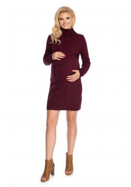 Svetrové těhotenské šaty s rolákem v bordó barvě