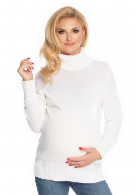 Klasický těhotenský svetr s rolákem v krémové barvě