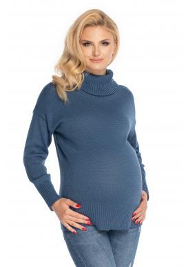 Modrý klasický těhotenský svetr s rolákem