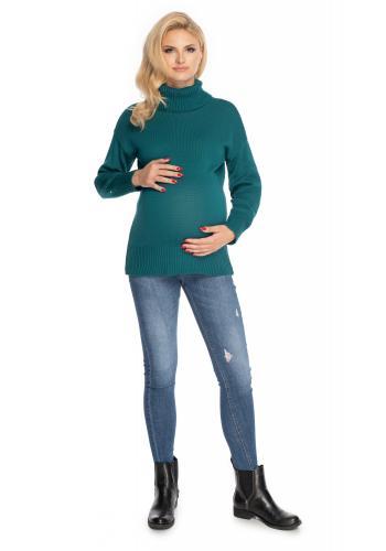 Dámský těhotenský svetr s rolákem zelené barvy