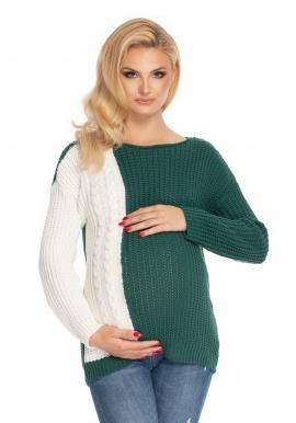 Dvoubarevný těhotenský svetr v bílo-zelené barvě