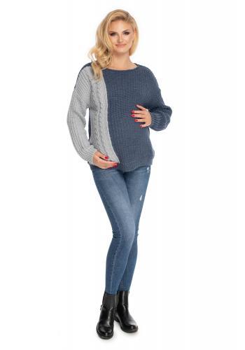 Klasický těhotenský svetr v jeansové barvě