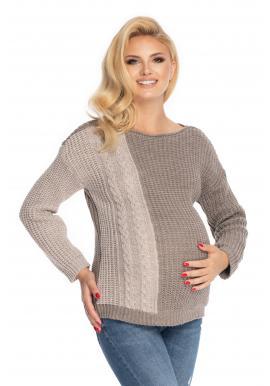 Dámský těhotenský svetr v cappuccinovej barvě