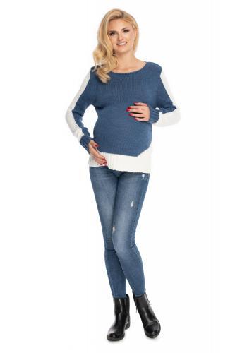 Dvoubarevný těhotenský svetr v bílo-modré barvě