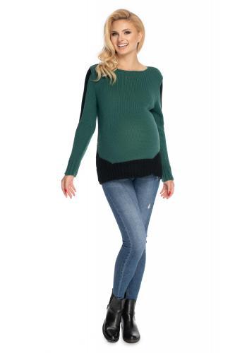 Těhotenský svetr ve dvou barvách zelené a černé