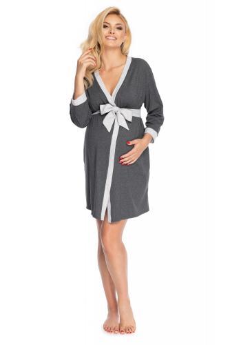 Dámský těhotenský župan v tmavošedé barvě šedým lemováním