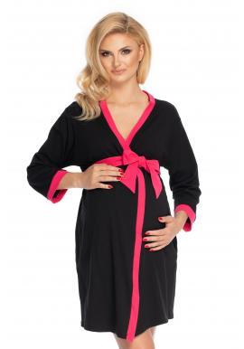 Dámský těhotenský župan v černé barvě se růžovým lemováním