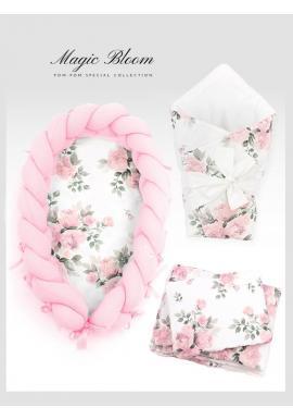 Výbava pro novorozence 4v1 - magické květiny / pastelově růžová
