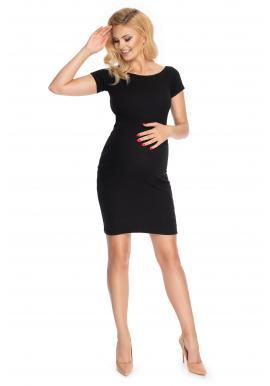 Elegantní černé těhotenské šaty s krátkým rukávem