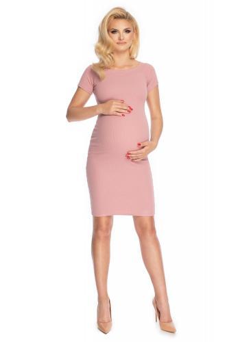 Těhotenské elegantní šaty s krátkým rukávem v růžové barvě
