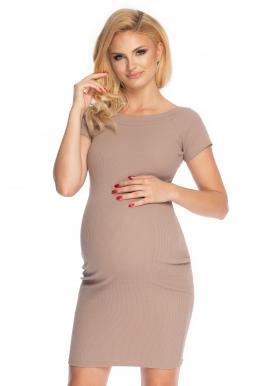 Cappuccinové elegantní těhotenské šaty s krátkým rukávem