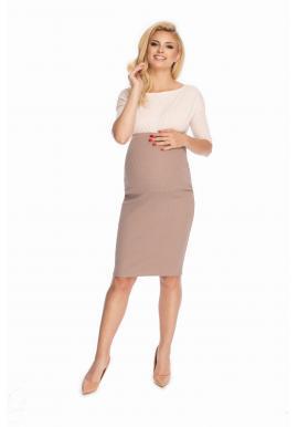 Klasická elegantní těhotenská sukně v cappuccinovej barvě