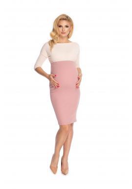 Elegantní růžová těhotenská sukně klasického střihu