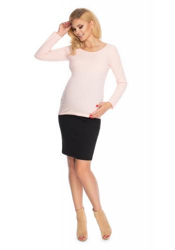 Klasická těhotenská halenka s dlouhým rukávem v pudrové barvě
