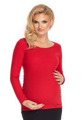 Dámská těhotenská halenka s dlouhým rukávem červené barvy
