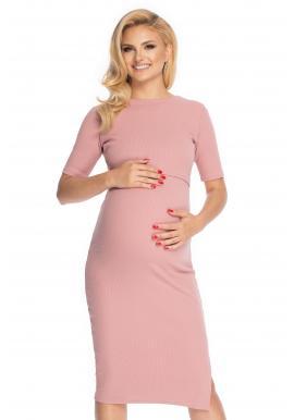 Bavlněné těhotenské a kojící šaty ve starorůžové barvě