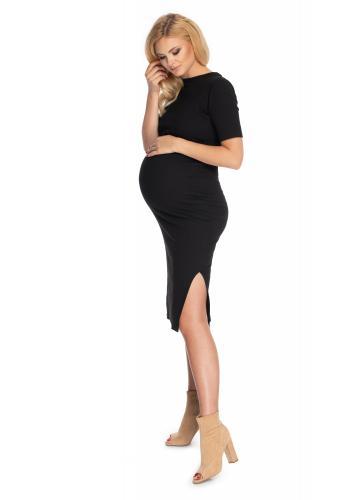 Černé bavlněné těhotenské a kojící šaty s rozparkem