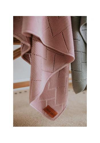100% bambuová pletená deka v růžové barvě
