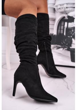 Semišové černé boty na vysokém podpatku