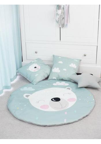 Sada dvou ozdobných dětských polštářů - mátový medvěd