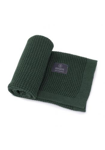 Tmavozelená pletená deka pro děti