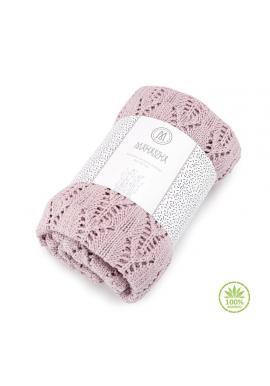 Růžová pletená deka s ažurovým vzorem pro děti