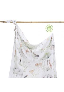 Bambusová deka na léto s motivem Savany