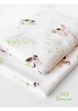 Letní bambusová deka s motivem ptáčků (polštář grátis)