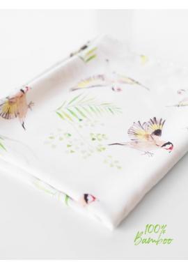 Bambusová deka na léto pro miminka - ptáčky (polštář grátis)